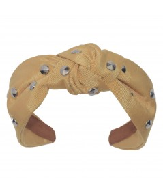 Dijon Grosgrain Texture Studded Blair Headband