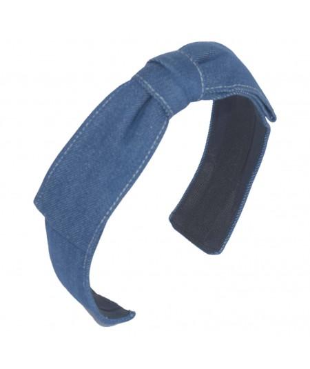 Medium Blue Deni Bow with Ivory Stitch Headband