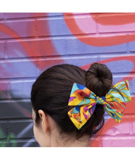 Silk Print Bow Ponytail Holder