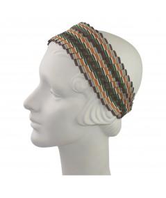 Brown/Orange Extra Wide Pleated Stripe Grosgrain Headband