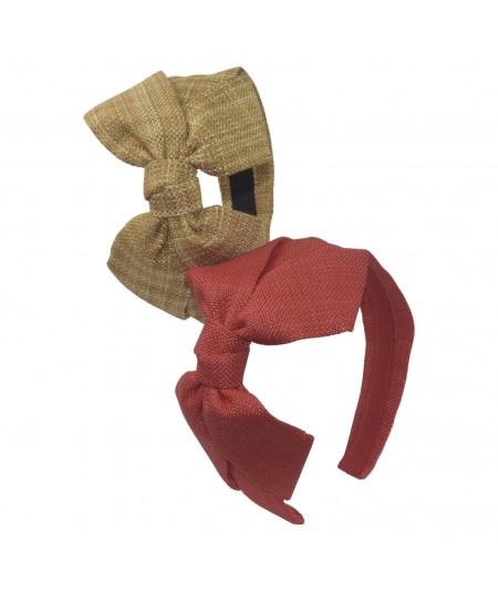 Natural Mix - Red Italian Raffia Carolina Bow Headband