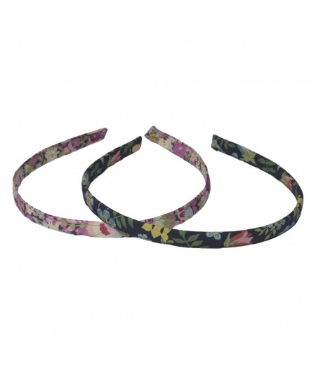 Fuchsia Garden - Black Multi Liberty Print Skinny Headband