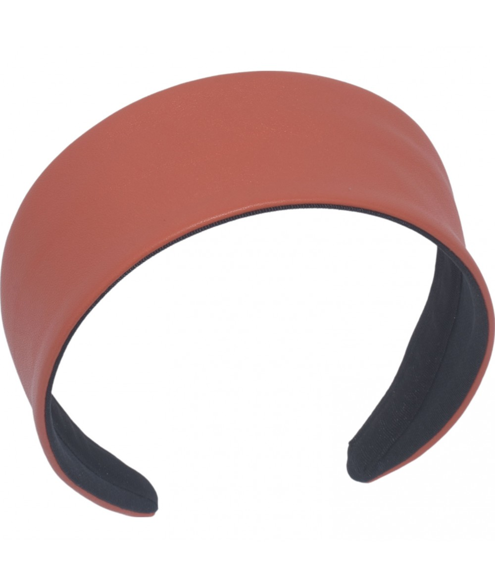 Coral Leather Wide Headband