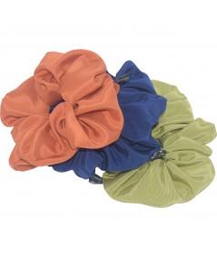 Orange - Corsair Blue - Celery Bengaline Wide Scrunchies
