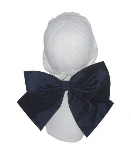 Navy Silk Taffeta Big Bow Ponytail Holder