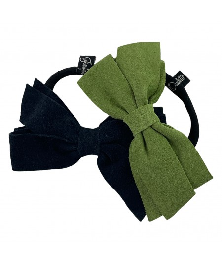 Navy - Kelly Suede Double Bow Pony
