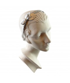 Silver Metallic Leather Headband with Leaves and Bow