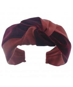 Dark Red Grosgrain and Velvet Mix Center Turban Headband