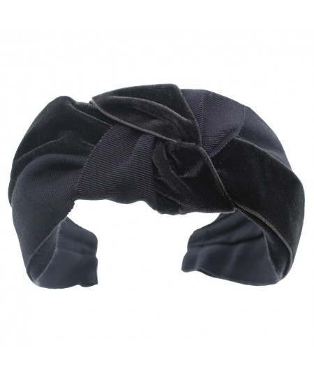 Navy Grosgrain and Velvet Mix Center Turban Headband