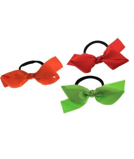 Tango Orange - Red - Lime Satin Ribbon Bow Pony