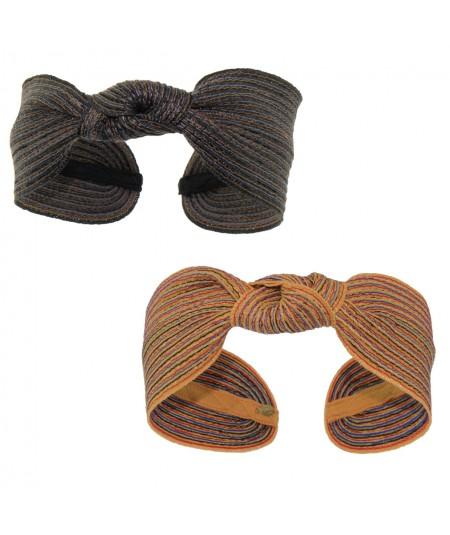 Black Tonal - Marigold Mix Colored Stitch Wide Center Knot Headband
