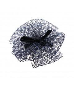 Pom Pom Barrette made of Millinery Veiling with Velvet Bow