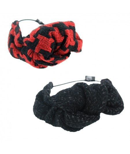 Red/Black Houndstooth and Black Wallstreet Boucle Tweed Knot Pony and Bracelet