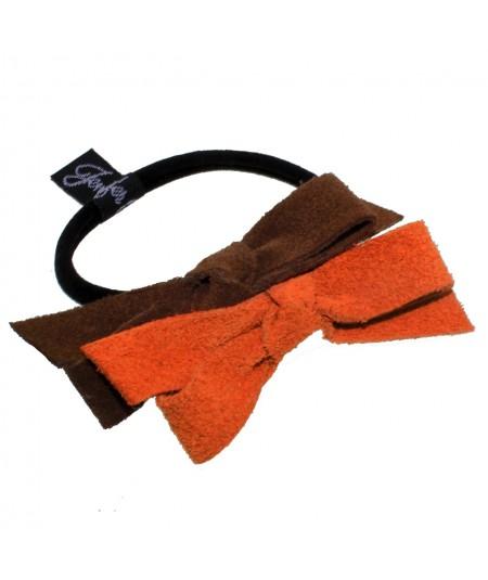 Peanut - Orange Suede Bow Hair Elastic