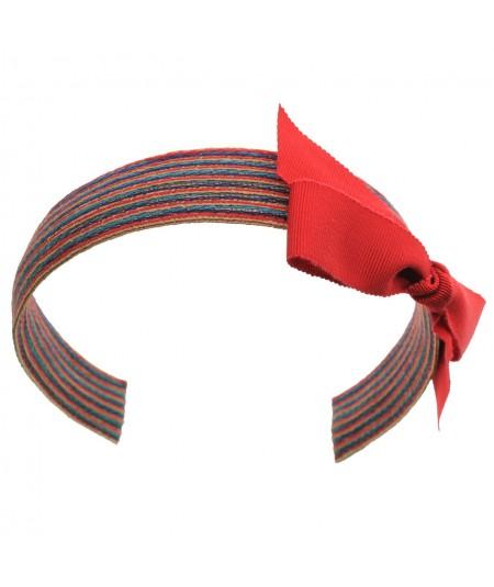 Boardwalk Colored Stitch Straw with Red Grosgrain Bow Headband