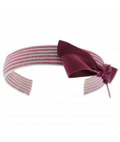 Lupe Colored Stitch Straw with Dark Fuchsia Grosgrain Bow Headband