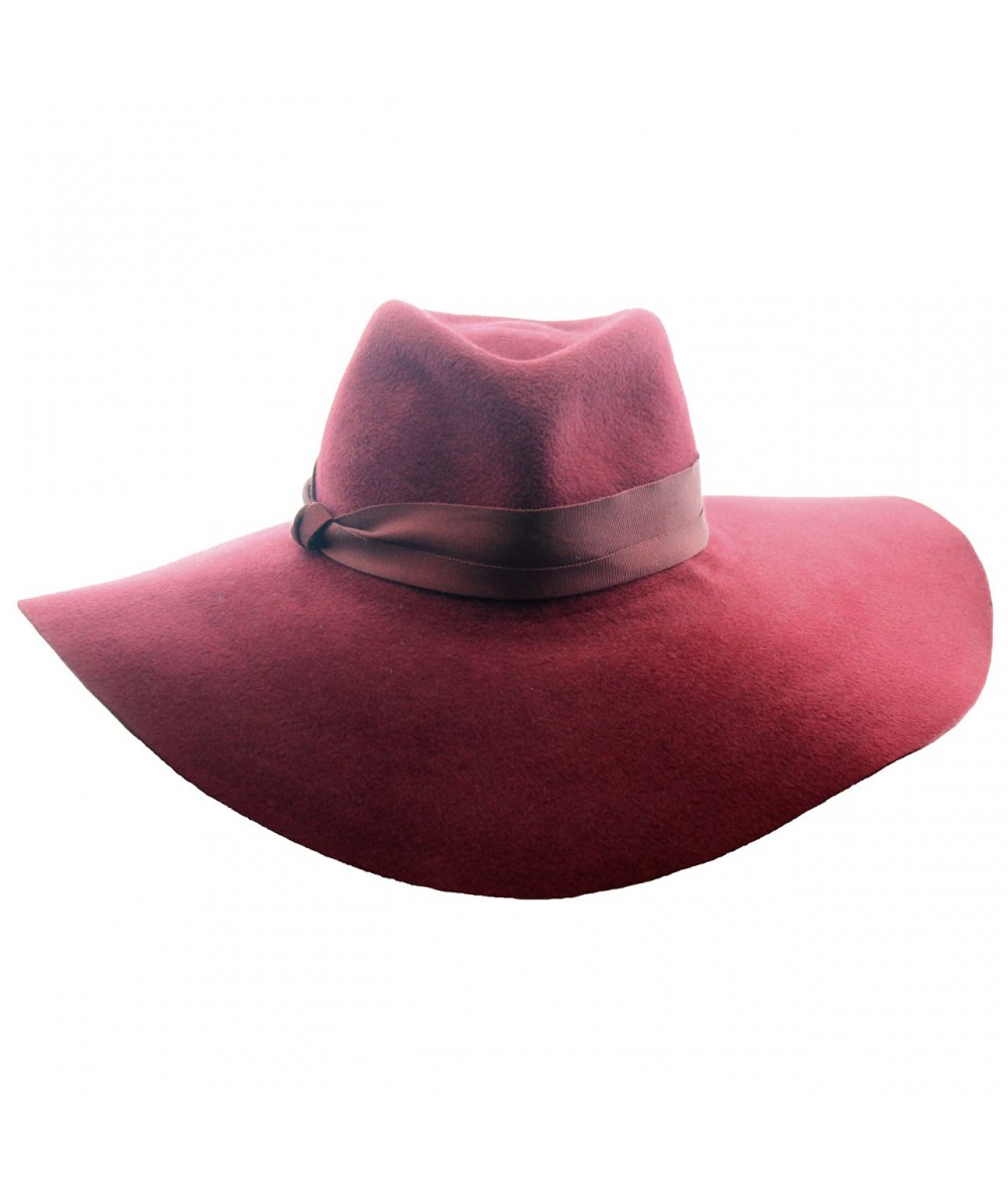 Large Fedora Brim with Rabbit Fur.  This inspired style features a Grosgrain Trim and Side Knot.  Designed by Jennifer Ouellette