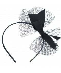 Navy Side Veil Bow Grosgrain Headband