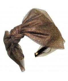 Metallic Tulle Side Bow Headband - Dark Gold