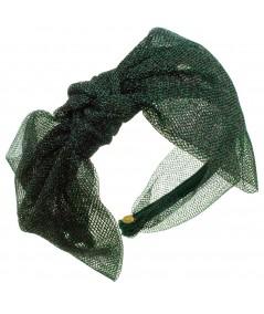 Metallic Tulle Side Bow Headband - Green