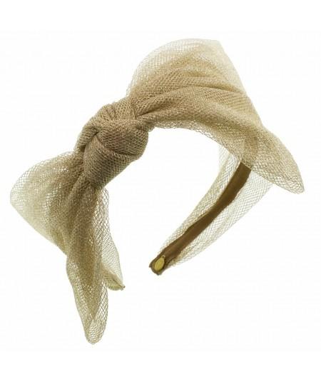 Metallic Tulle Side Bow Headband - Light Gold
