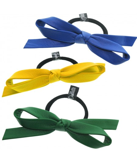 Kelly Green - Sun Flower - Electric Blue Leather Bow Ponytail Holder by Jennifer Ouellette