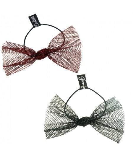 Red Metallic and Gree Metallic Tulle Bow Hair Ponytail Elastic