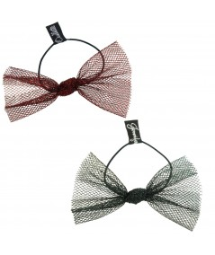Red Metallic and Gree Metallic Tulle Bow Hair Ponytail Elastic