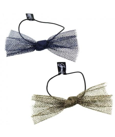 Blue Metallic and Antique Gold Metallic Tulle Bow Hair Ponytail Elastic