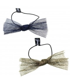 Blue Metallic and Antique Gold Metallic Tulle Bow Hair Ponytail Elastic
