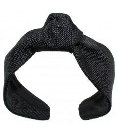 Black italian-raffia-center-knot-turban-headband