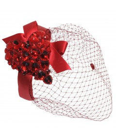 Red Gem Heart Fascinator