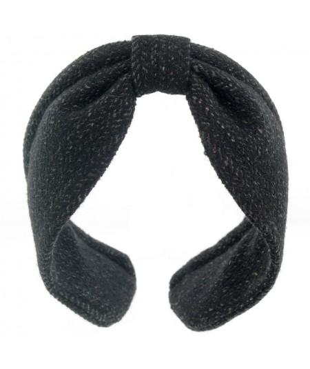 Black Wallstreet Wool Center Divot Headband Earmuffs