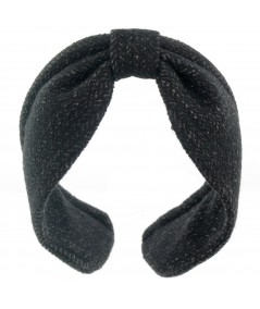 Black Wallstreet Wool Center Divot Headband Earmuffs