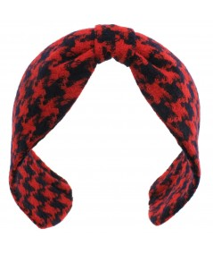 Red Blue Houndstooth Wool Center Divot Headband Earmuffs