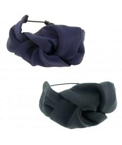 Navy - Black Satin Knot Ponytail Holder or Bracelet
