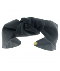 Black Grosgrain Center Knot Turban