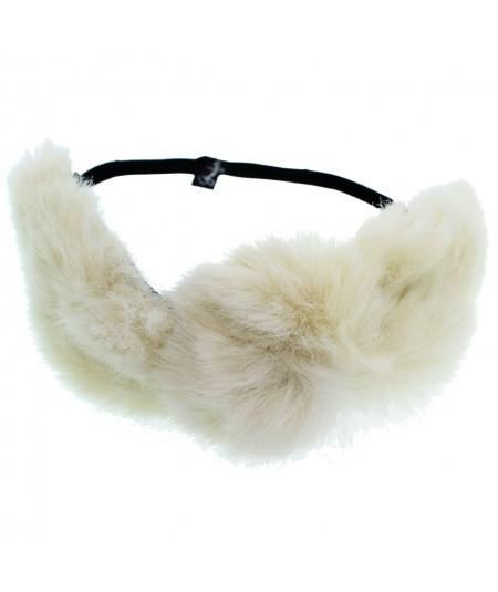 Ivory Faux Fur Turban Elastic Headband