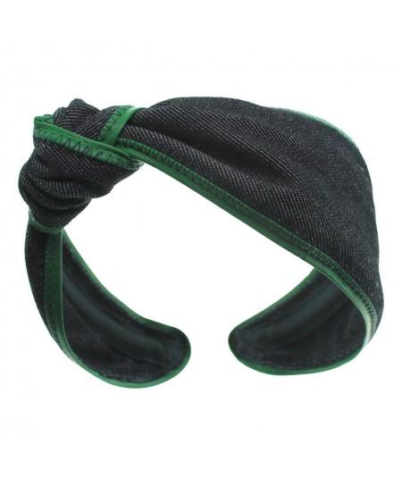 Black Denim with Kelly Green Leather Side Turban Headband