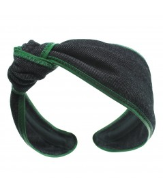 Black Denim with Kelly Green Leather Side Turban Headband