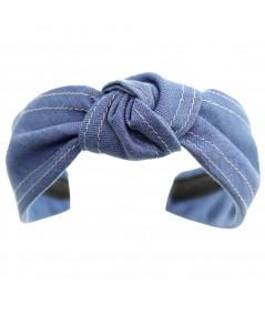 Medium Blue Denim Center Knot Turban with Double Contrast Stitch Headband