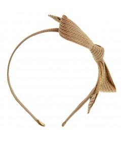 Peanut Colored Stitch Straw Bow on Grosgrain Headband