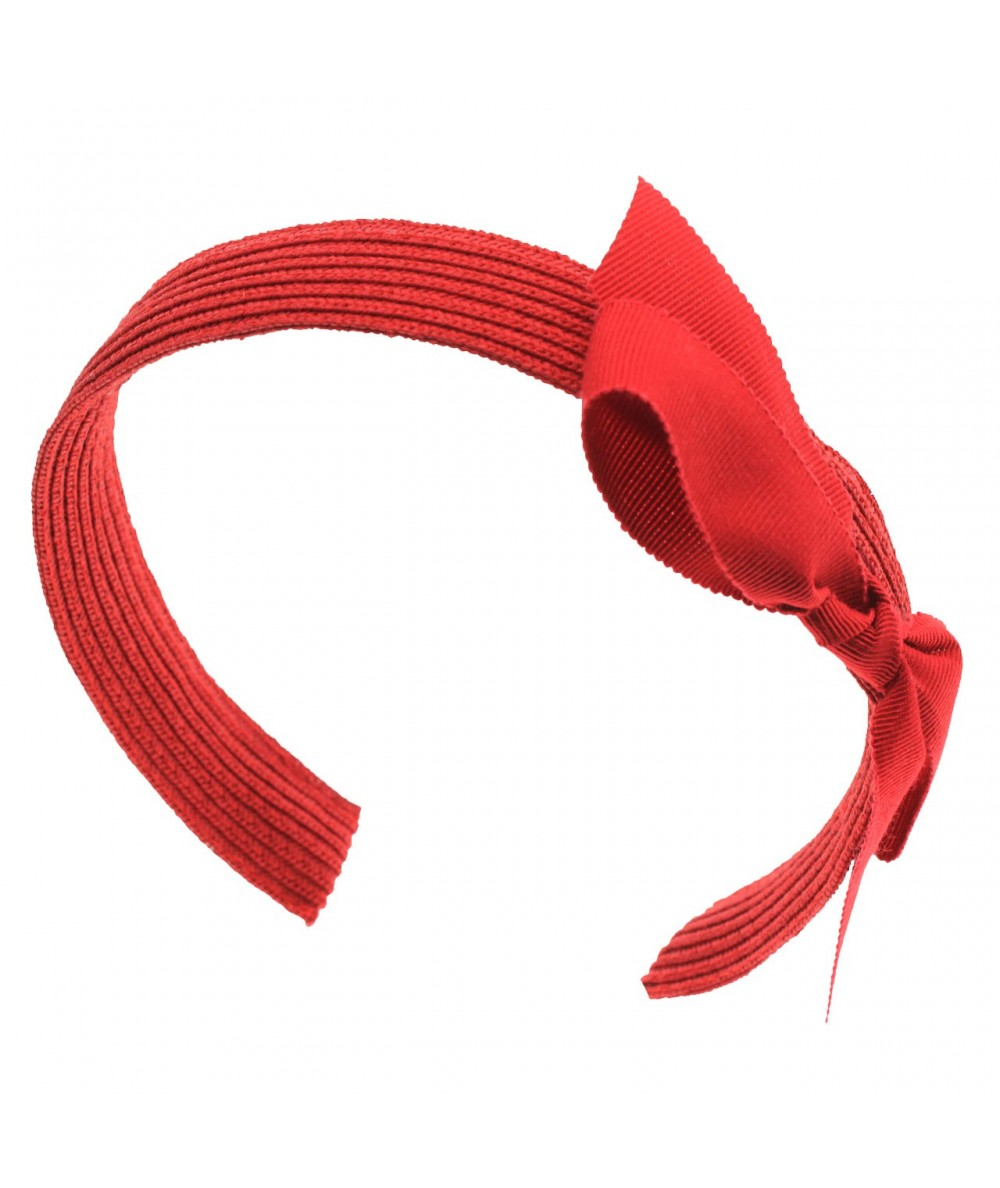 Red Toyo Straw with Grosgrain Side Bow Headband