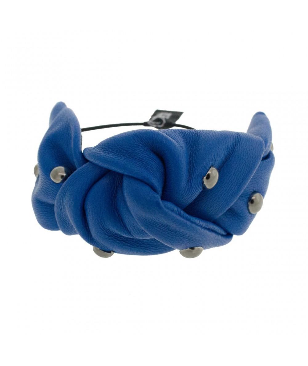 Leather with Metal Stud Bracelet or Ponytail Holder by Jennifer Ouellette