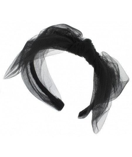 Black Large Tulle Side Bow Headband