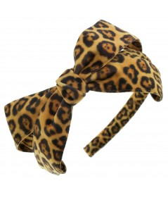 Leopard Side Bow Trimmed Headband