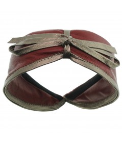 Cranberry with Antique Gold leather-valentine-center-bow-headband
