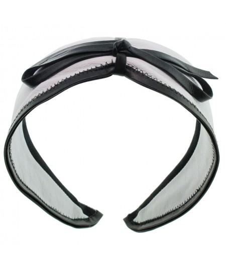 White with Black leather-valentine-center-bow-headband