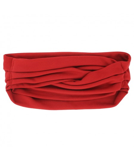 Red Turban Stretchy Wool Knit Headwrap JS9