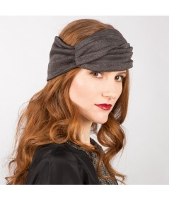 Charcoal Turban Stretchy Wool Knit Headwrap JS9